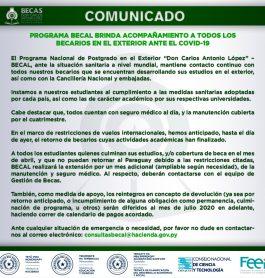 COMUNICADO| PROGRAMA BECAL BRINDA ACOMPAÑAMIENTO A TODOS LOS BECARIOS EN EL EXTERIOR ANTE EL COVID-19